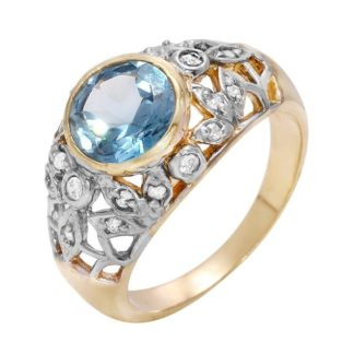 Cocktail Ring Blue Cubic Zirconia Center in Solid 14k White and Yellow Gold