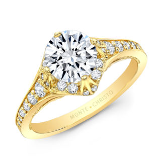 Petite Pave Diamond Ring Yellow Gold