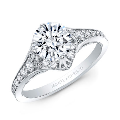 Petite Pave Diamond Ring White Gold