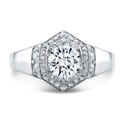 Wide Engagement Halo Ring White Gold