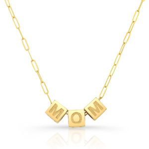Mom Cube Necklace Close